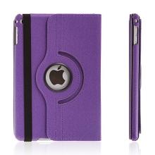 Pouzdro / kryt pro Apple iPad mini 4 - 360° otočný držák a prostor na doklady - fialové