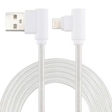 Synchronizační a nabíjecí kabel - Lightning pro Apple zařízení - tkanička - 90° lomená koncovka Lightning - stříbrný - 1m