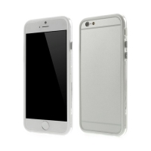 Plasto-gumový rámeček / bumper pro Apple iPhone 6 / 6S - bílý s průhledným pruhem
