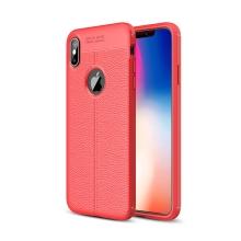 Kryt pro Apple iPhone Xs max - textura kůže - gumový - červený