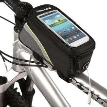 Sportovní pouzdro na kolo pro Apple iPhone a zařízení vel. až 4 s úschovným prostorem - černo-zelené s reflexním pruhem?