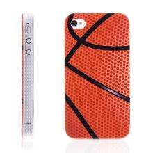 Ochranný plastový kryt pro Apple iPhone 4 / 4S s průhlednými jemně vroubkatými okraji - basketbal