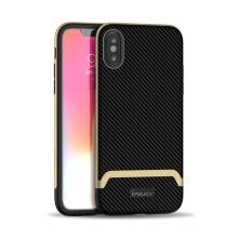Kryt IPAKY pro Apple iPhone Xs Max - gumový / plastový - karbon / zlatý