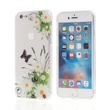 Kryt pro Apple iPhone 6 / 6S gumový - průhledný - květiny a motýli