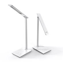 Stolní lampička + bezdrátová nabíječka / nabíjecí podložka Qi + USB-A - bílá