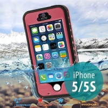 Voděodolné plastové pouzdro Redpepper pro Apple iPhone 5 / 5S / SE s podporou funkce Touch ID + poutko na ruku - růžové