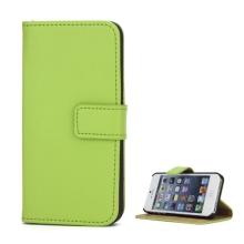 Pouzdro pro Apple iPhone 5 / 5S / SE - stojánek + prostor pro platební karty - kožené - zelené