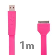 Plochý synchronizační a nabíjecí USB kabel pro Apple iPhone / iPad / iPod - růžový