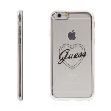Kryt GUESS pro Apple iPhone 6 / 6S gumový - srdce - průhledný / stříbrný