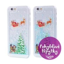 Kryt pro Apple iPhone 6 / 6S - plastový - Santa Claus a stromeček - modré pohyblivé hvězdičky / třpytky