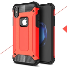 Kryt pro Apple iPhone X - odolný - plastový / gumový - červený