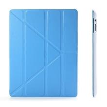 Ochranné pouzdro s variabilním stojánkem a funkcí chytrého uspání a probuzení pro Apple iPad 2. / 3. / 4.gen. - modro-průhledné