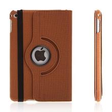 Pouzdro / kryt pro Apple iPad mini 4 - 360° otočný držák a prostor na doklady - hnědé