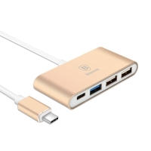 Redukce / adaptér Baseus Sharp Series USB-C Hub / Type C + 1x USB 3.0 + 2x USB 2.0 - zlatá Champagne