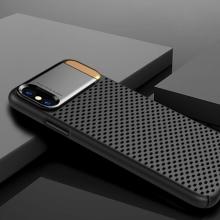 Kryt pro Apple iPhone X - perforovaný / s otvory - kovový stojánek - plastový - černý