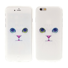 Pouzdro pro Apple iPhone 6 / 6S flipové gumové - bílá kočka