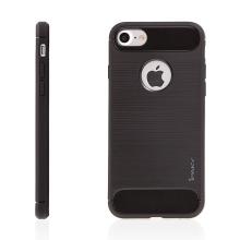 Kryt IPAKY pro Apple iPhone 7 / 8 - výřez pro logo / gumový - černý