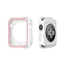Kryt / rámeček pro Apple Watch 42mm 1 / 2 / 3 series - sportovní - silikonový - bílý / růžový
