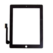 Přední dotykové sklo (touch screen) pro Apple iPad 4.gen. - osazené - Home Button + konzole na fotoaparát - černé - kvalita A