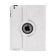 Pouzdro pro Apple iPad 2 / 3 / 4 - 360° otočný stojánek - květiny - bílé