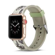 Řemínek pro Apple Watch 44mm Series 4 / 42mm 1 2 3 - silikonový - maskáčový - šedý