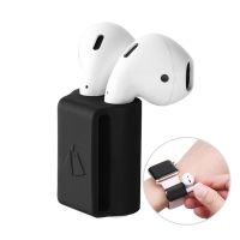 Držák Apple AirPods pro Apple Watch - silikonový - černý
