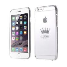 Plastový kryt X-FITTED pro Apple iPhone 6 / 6S - průhledný + stříbrný rámeček - stříbrná koruna zdobená kamínky Swarovski