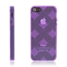 Ochranný gumový kryt pro Apple iPhone 5 / 5S / SE - fialový se vzorem kosočtverců