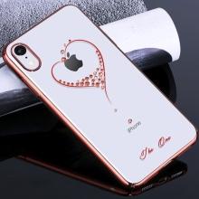 Kryt KINGXBAR pro Apple iPhone Xr - průhledný s kamínky Swarovski - srdce - červený