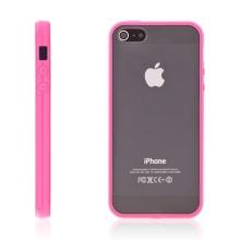 Ochranný plastový kryt pro Apple iPhone 5 / 5S / SE - průhledný s purpurovým gumovým rámečkem