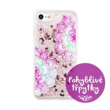 Kryt pro Apple iPhone 7 / 8 - pohyblivé třpytky - gumový - růžová mandala