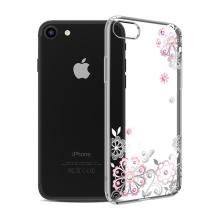Kryt KAVARO pro Apple iPhone 7 / 8 - plastový - květiny a kamínky - stříbrný / průhledný
