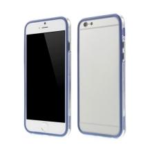 Plasto-gumový rámeček / bumper pro Apple iPhone 6 / 6S - modrý s průhledným pruhem