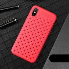 Kryt USAMS pro Apple iPhone X - perforovaný / s otvory - pletená textura - gumový - červený