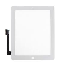 Přední dotykové sklo (touch screen) pro Apple iPad 4.gen. - osazené - Home Button + konzole na fotoaparát - bílé - kvalita A