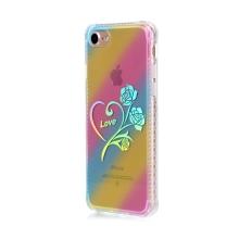 Kryt pro Apple iPhone 7 / 8 - gumový / plastový - duhový / stříbrné srdce LOVE