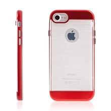 Kryt SLiCOO pro Apple iPhone 7 / 8 gumový / červený plastový rámeček - broušený vzor - průhledný