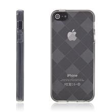 Ochranný gumový kryt pro Apple iPhone 5 / 5S / SE - šedý se vzorem kosočtverců