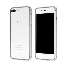 Rámeček / bumper s ochranou kamery pro Apple iPhone 7 Plus / 8 Plus - guma / hliník - šedý