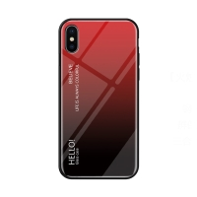 Kryt pro Apple iPhone Xs Max - sklo / guma - červený