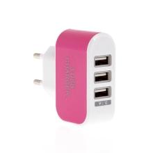 EU napájecí adaptér / nabíječka s 3 USB porty (3.1A) - růžová
