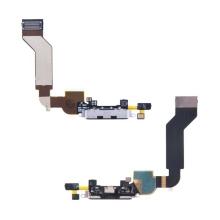 Flex kabel + mikrofon + napájecí a datový konektor pro Apple iPhone 4S - černý - kvalita A