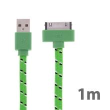 Synchronizační a nabíjecí kabel s 30pin konektorem pro Apple iPhone / iPad / iPod - tkanička - plochý zelený - 1m