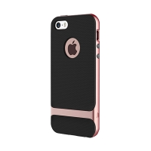 Kryt ROCK Royce pro Apple iPhone 5 / 5S / SE - plastový / gumový - černý / Rose Gold růžový