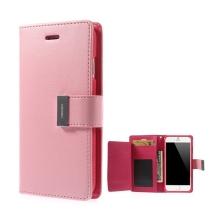 Pouzdro Mercury ve stylu peněženky s magneticky uzavíracím klipem pro Apple iPhone 6 Plus / 6S Plus - světle růžové