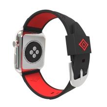 Řemínek pro Apple Watch 44mm Series 4 / 38mm 1 2 3 - silikonový - černý / červený pruh