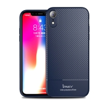 Kryt IPAKY pro Apple iPhone Xr - karbonová textura - gumový - tmavě modrý