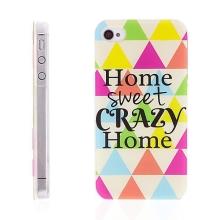Plastový kryt pro Apple iPhone 4 / 4S - Home Sweet Crazy Home - barevný