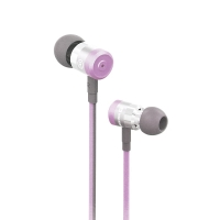 Sluchátka SWISSTEN pro Apple zařízení - špunty - ovládání + mikrofon - kov / guma - fialová