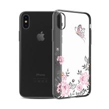 Kryt KAVARO pro Apple iPhone X - s kamínky Swarowski - plastový - motýl a květiny - průhledný / černý